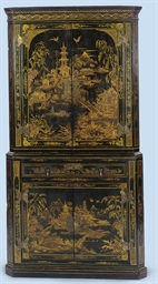 A GEORGE III BLACK AND GILT-JA