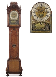 A DUTCH WALNUT LONG CASE CLOCK