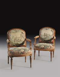 A PAIR OF LOUIS XVI WALNUT AND