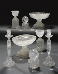 A PAIR OF ROCK CRYSTAL URNS
