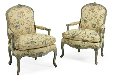 A PAIR OF LOUIS XV PALE BLUE-P