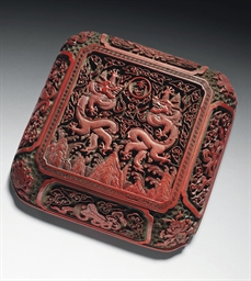 A THREE-COLOUR LACQUER BOX AND