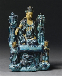 A RARE FAHUA MODEL OF GUANYIN