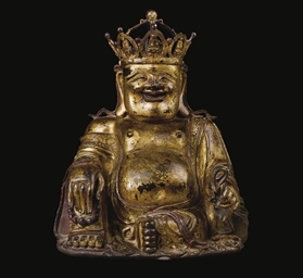 A GILT-LACQUERED BRONZE FIGURE OF BUDAI