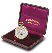 Jules Jürgensen. A fine and rare 18K gold openface minute repeating perpetual calendar keyless lever dress watch with phases of the moon and original box