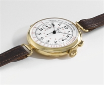 Minerva. A large and unusual 18K gold hinged single button chronograph wristwatch with enamel dial and pulsometre scale