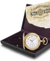 A. Lange & Söhne. A very fine and rare 18K pink gold hunter case minute repeating keyless lever with certificate and box