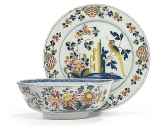 AN ENGLISH DELFT POLYCHROME PU