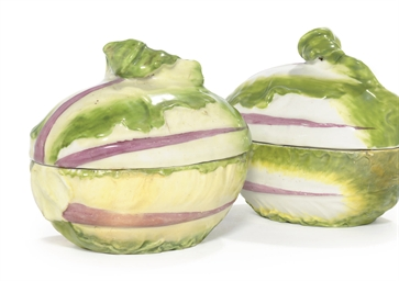 TWO CHELSEA COS-LETTUCE TUREEN
