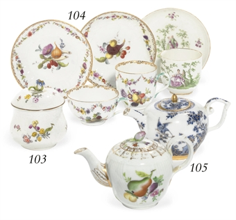 THREE MEISSEN CUPS AND SAUCERS