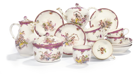 A MEISSEN PUCE-SCALE PART TEA