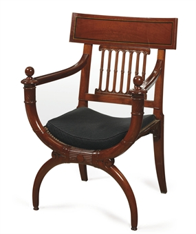 a directoire mahogany fauteuil circa 1795 attributed to. Black Bedroom Furniture Sets. Home Design Ideas