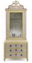 A NORTH ITALIAN POLYCHROME-PAINTED PASTIGLIA COMMODE AND MIRROR