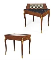 A LOUIS XV ORMOLU-MOUNTED AMARANTH TRIC-TRAC TABLE **