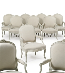 A SET OF TEN LOUIS XV WHITE-PA
