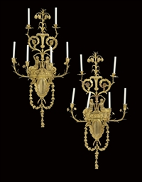 A PAIR OF FRENCH ORMOLU SIX-BR