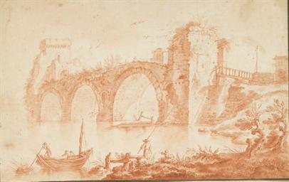 Pêcheurs devant un pont en rui