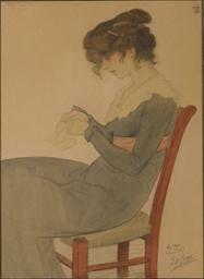 Femme assise cousant
