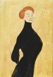 Femme en robe noire, vue de pr