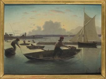 Pêcheurs sur l'étang de Vacare