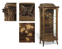 PAPILLONS VITRINE, CIRCA 1900 burr-walnut, fruitwood and rosewood inlays, bronze gallery of butterflies to the upper-tier