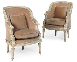 A PAIR OF FRENCH PAINTED BERGE