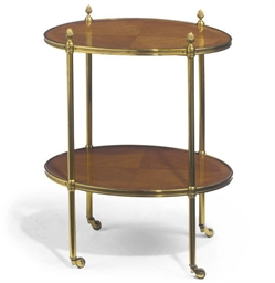 A BRASS MOUNTED TWO TIER WHATN
