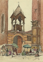 A North African street scene; and Street sellers, Verona (illustrated)