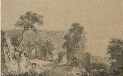 A ruin in an Italianate landsc