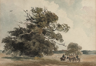 Riders resting by a large tree