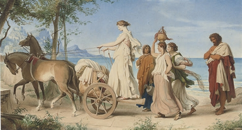 Classical figures by a chariot