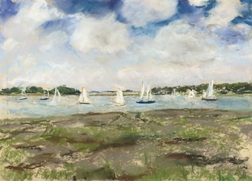 Yachts on a river estuary