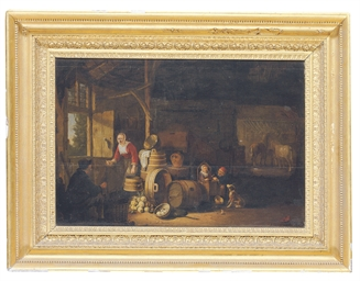 The interior of a stable, with