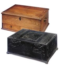 AN ANTIQUARIAN EBONY BOX