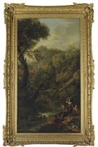 A classical landscape with shepherds and washerwomen by a stream