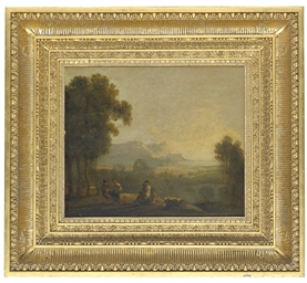 A river landscape with figures