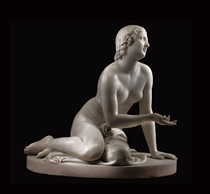AN ENGLISH WHITE MARBLE FIGURE OF A NYMPH