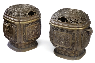 A PAIR OF JAPANESE BRONZE KORO