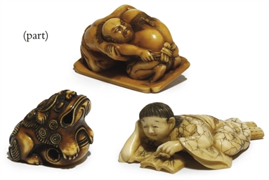 SIX IVORY NETSUKE AND AN OKIMO