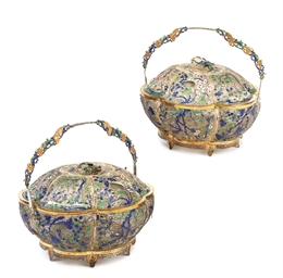 A PAIR OF CHINESE SILVER-GILT