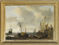 A coastal landscape with Dutch shipping in dock, at anchor and at sea