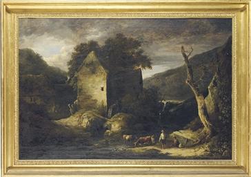 A pastoral landscape with a wa