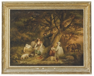 Figures gathered in a woodland