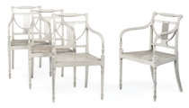 A SET OF FOUR GEORGE III WHITE-PAINTED ARMCHAIRS