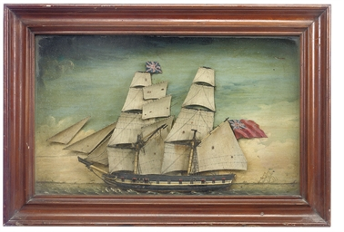 A SAILOR'S PICTURE HALF-MODEL OF AN EAST INDIAMAN UNDER FULL SAIL