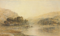 Cattle watering at a river