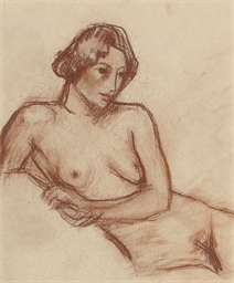 Reclining nude, head raised on