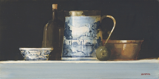 Still life with port bottle