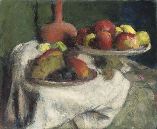 Still life with fruit on a whi
