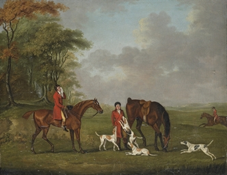 Huntsmen and hounds by the edge of a wood